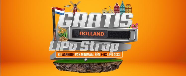 Gratis HOLLAND LiPo strap bij aankoop 3-6S LiPo accu